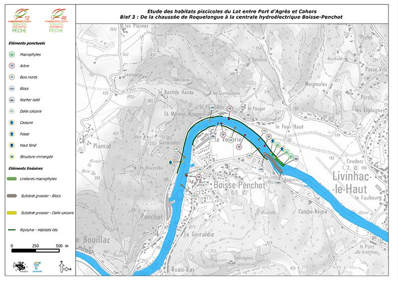 Cartographie des habitats piscicoles - Rivière lot (12 - 46)